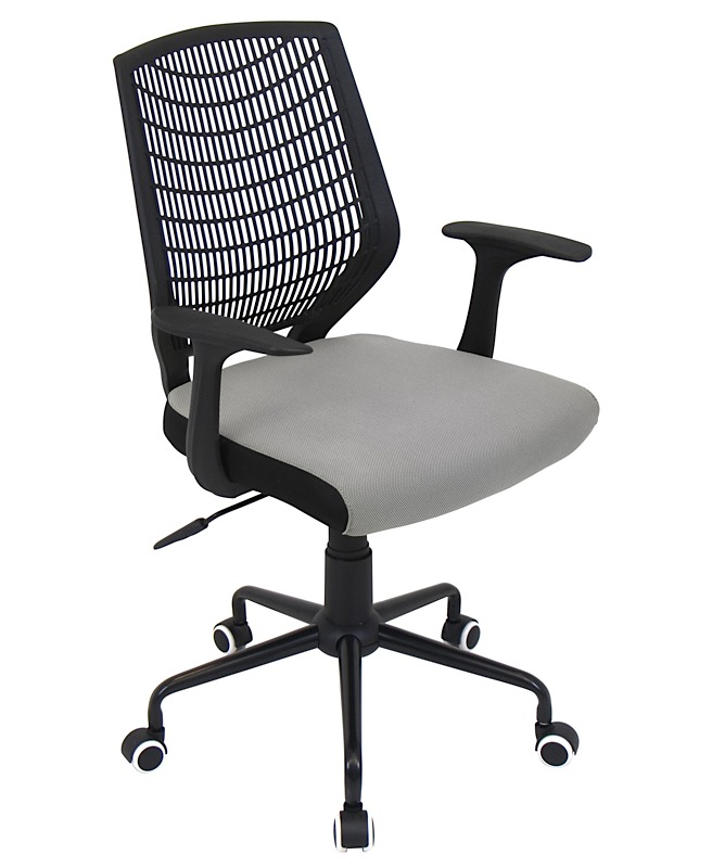 evan office chair black silver modern digs furniture