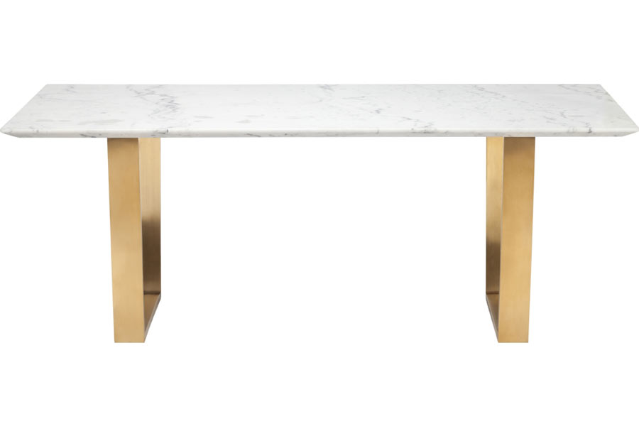 Catrine Dining Table Gold Stainless Modern Digs Furniture