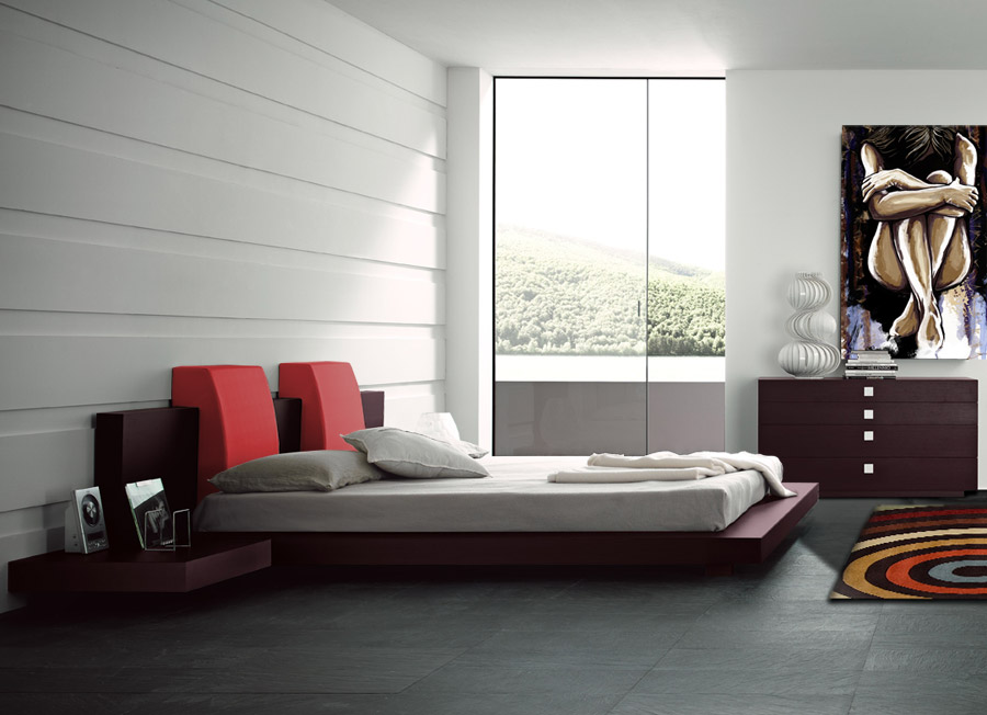 Manhattan bedroom set queen red modern digs furniture for Ready to assemble bedroom furniture