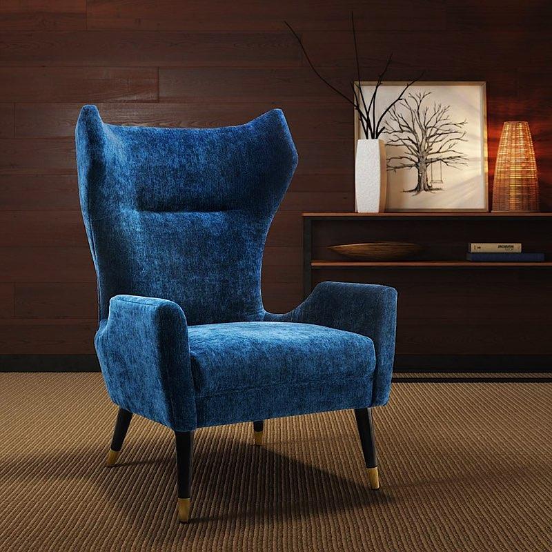 navy blue velvet chair