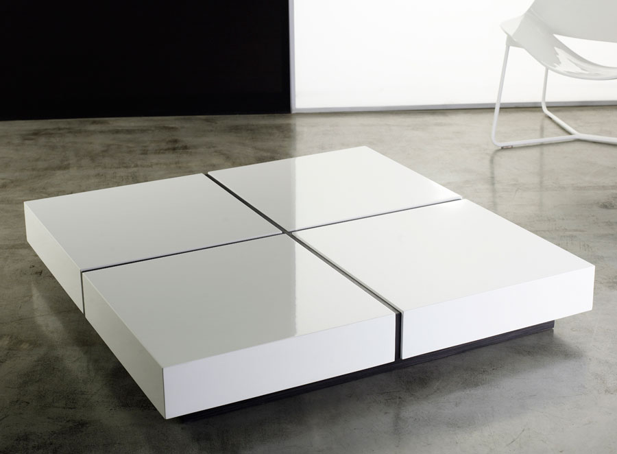 Dean Coffee Table White Lacquer Square Modern Digs Furniture