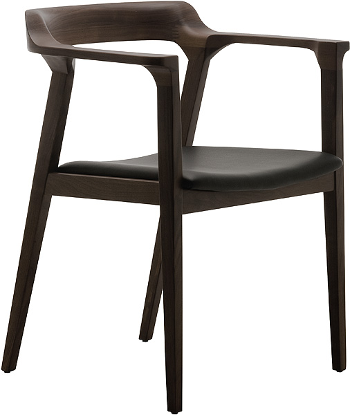 Caitlan dining chair oak black leather modern digs furniture