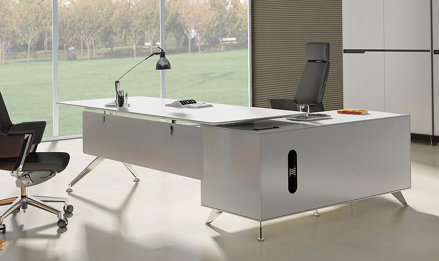 Arundel White Modern Executive Desk With Left Return