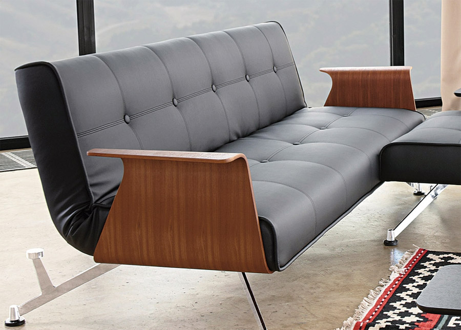 Clubber sofa black walnut arms modern digs furniture for Clubber sofa bed