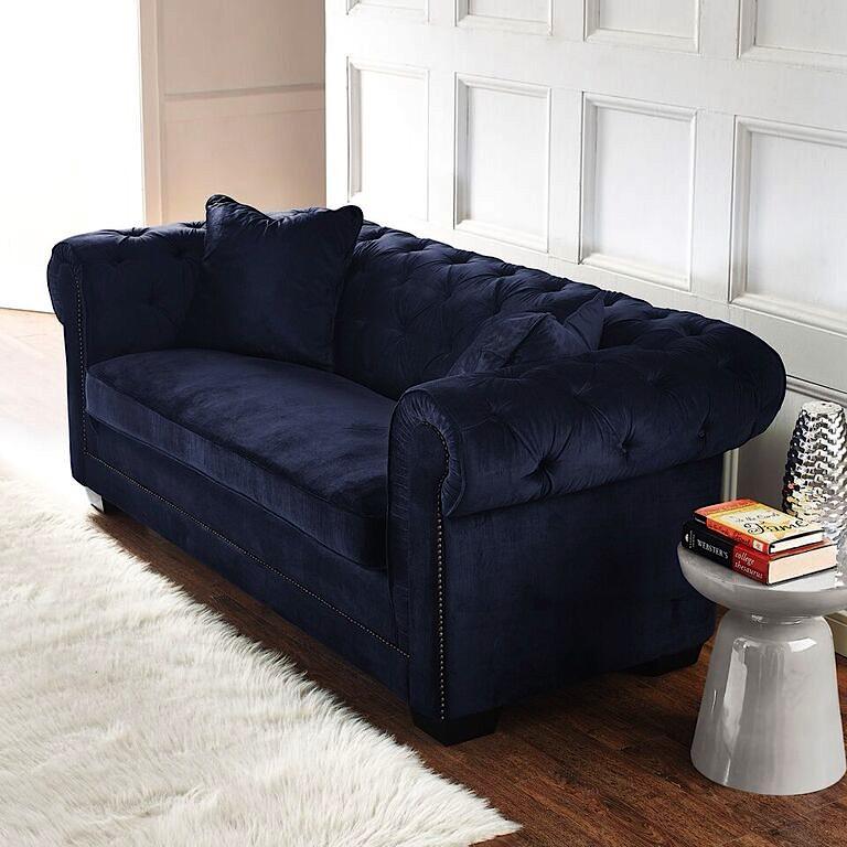 Norwalk velvet sofa navy blue modern digs furniture - Navy blue velvet sofa ...