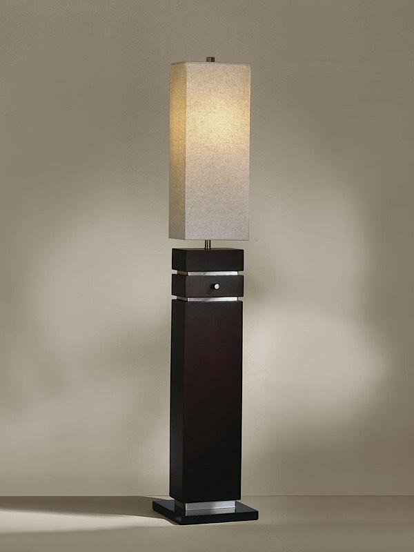 Waterfall Floor Lamp Dark Brown Brushed Nickel Modern