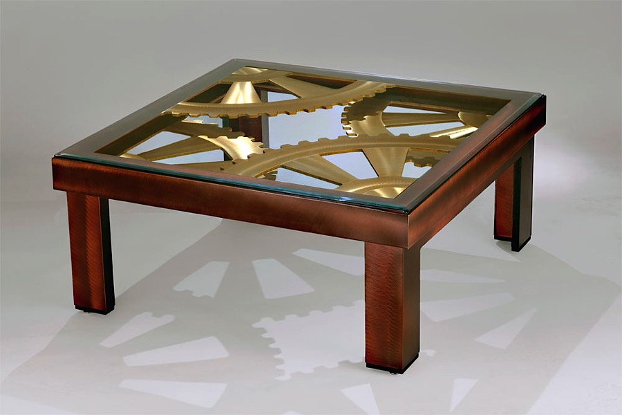 Timepiece cocktail table bronze modern digs furniture for Cocktail tables parts