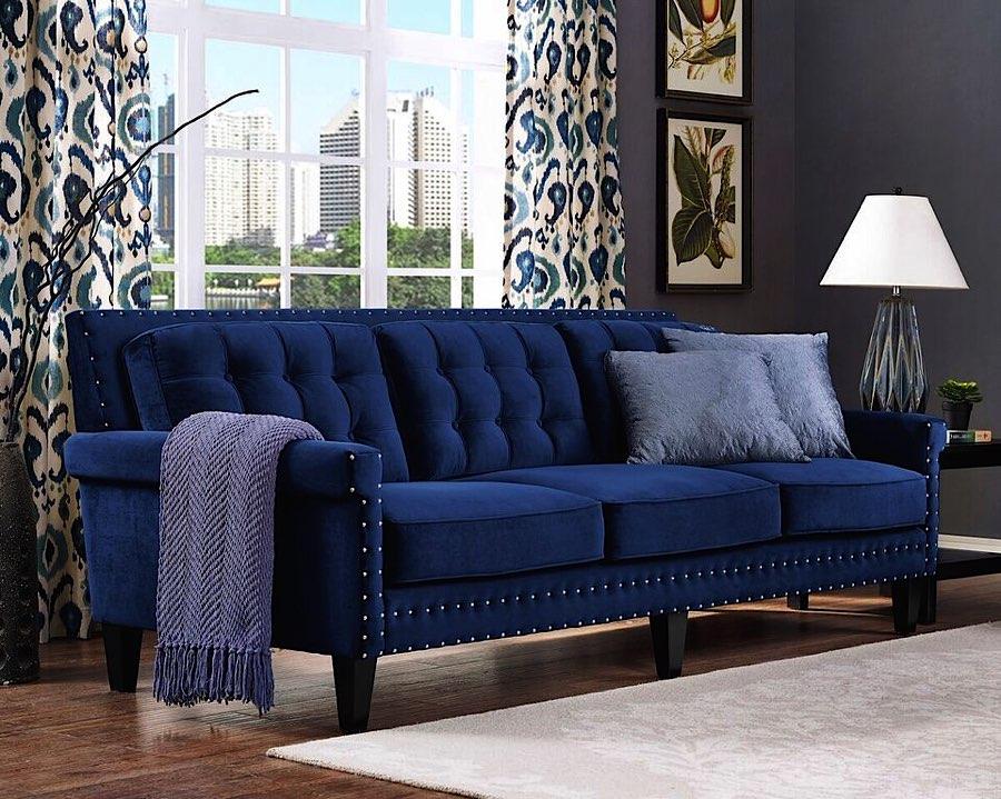 Navy Blue Velvet Sofa Modern Upholstered