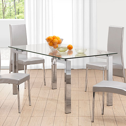 Roseville Dining Table Chrome Modern Digs Furniture