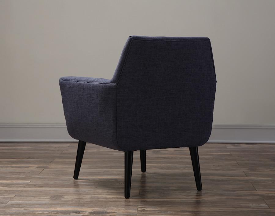 Clyde Chair Navy Blue Linen Black Legs Modern Digs