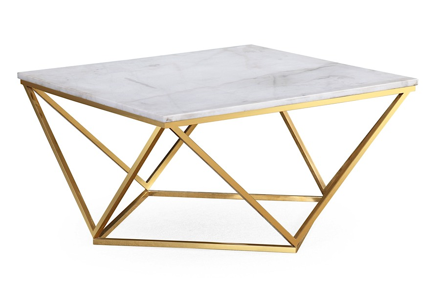 Leopold Cocktail Table White Marble Gold Modern Digs