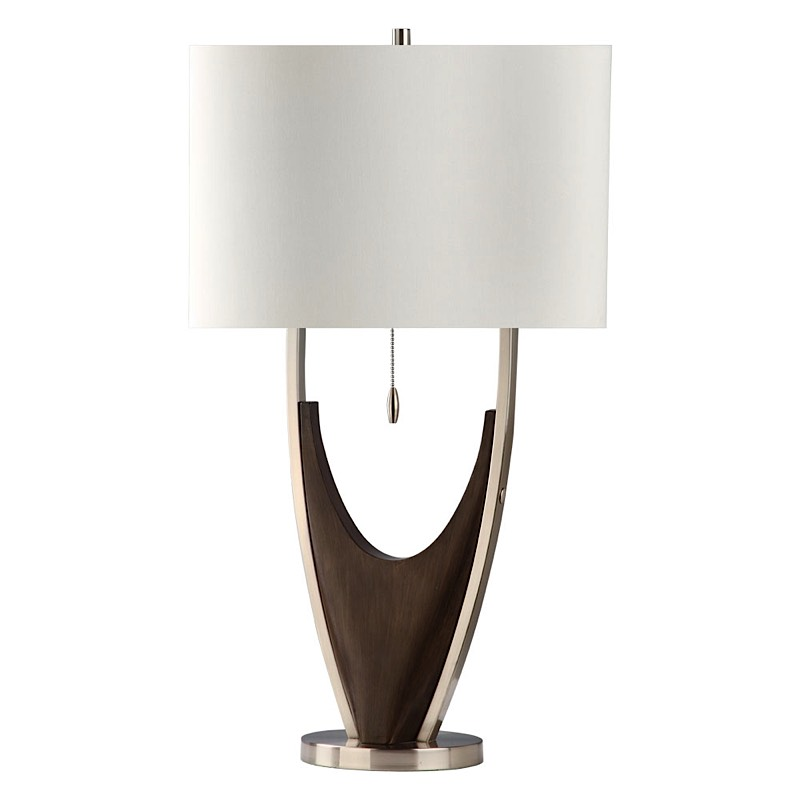 hull table lamp pecan brushed nickel modern digs furniture. Black Bedroom Furniture Sets. Home Design Ideas