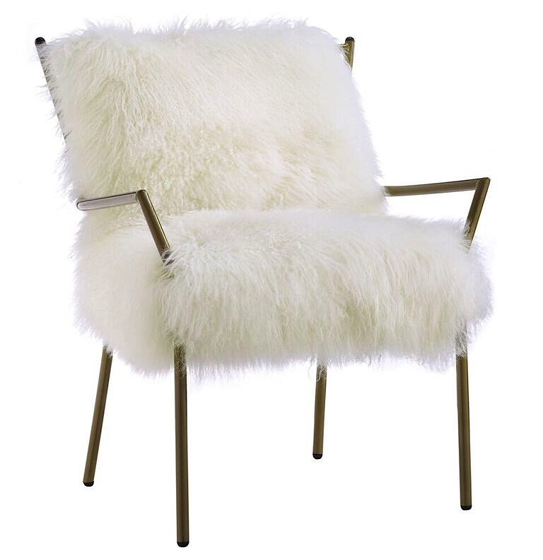 Lena Sheepskin Chair White | Rose Gold | Modern Digs Furniture