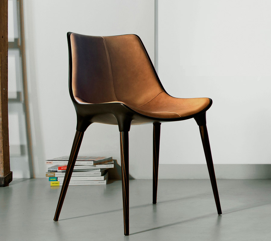 Langham Dining Chair In Caramel Leather Amp Cathedral Ebony