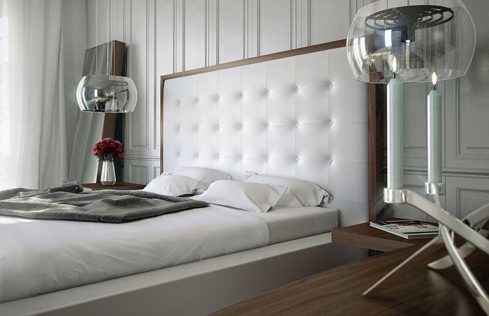 Modloft Ludlow Queen Bed In Walnut And White On Sale