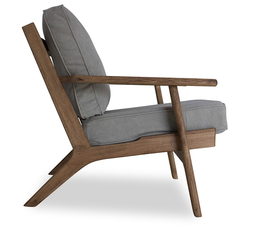 Beckett Lounge Chair   Beige | Natural Oak