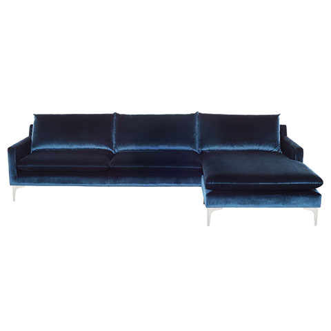 Anders Modern Velour Sectional Sofa