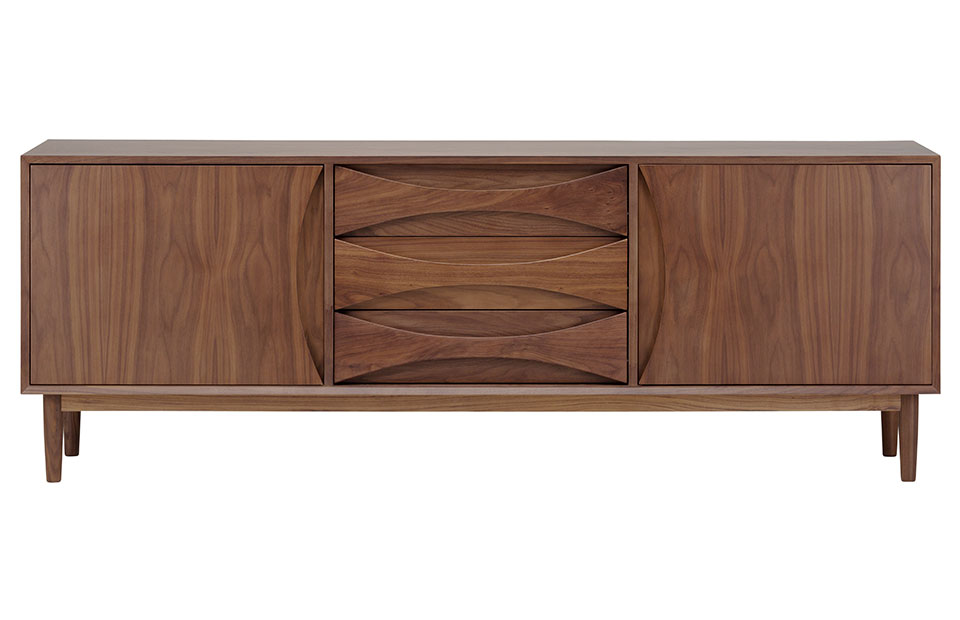 Adele Walnut Sideboard With Inset Pulls Modern Digs