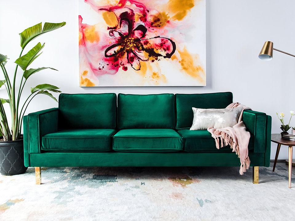 Bardot Velvet Sofa With Gold Legs