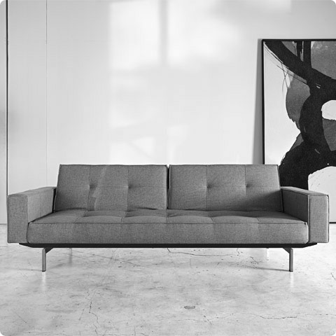 Splitback Sofa with Arms Custom Fabric | Steel