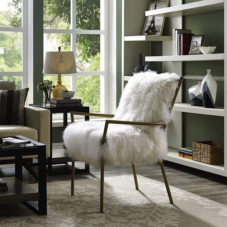 Lena Sheepskin Chair   White | Rose Gold