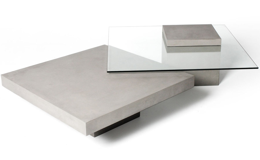 Modern Concrete Coffee Table Asymmetrical Coffee Table - Concrete and glass coffee table