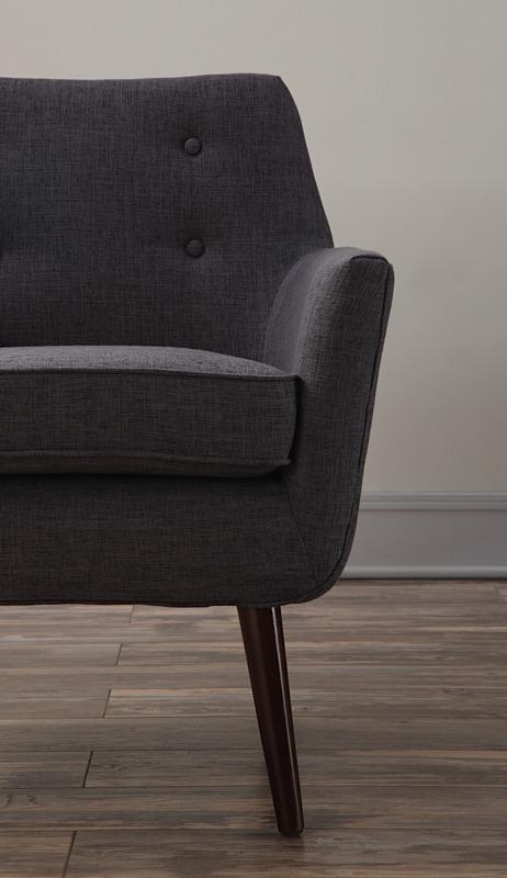 Clyde Chair Grey Linen Brown Legs Modern Digs Furniture