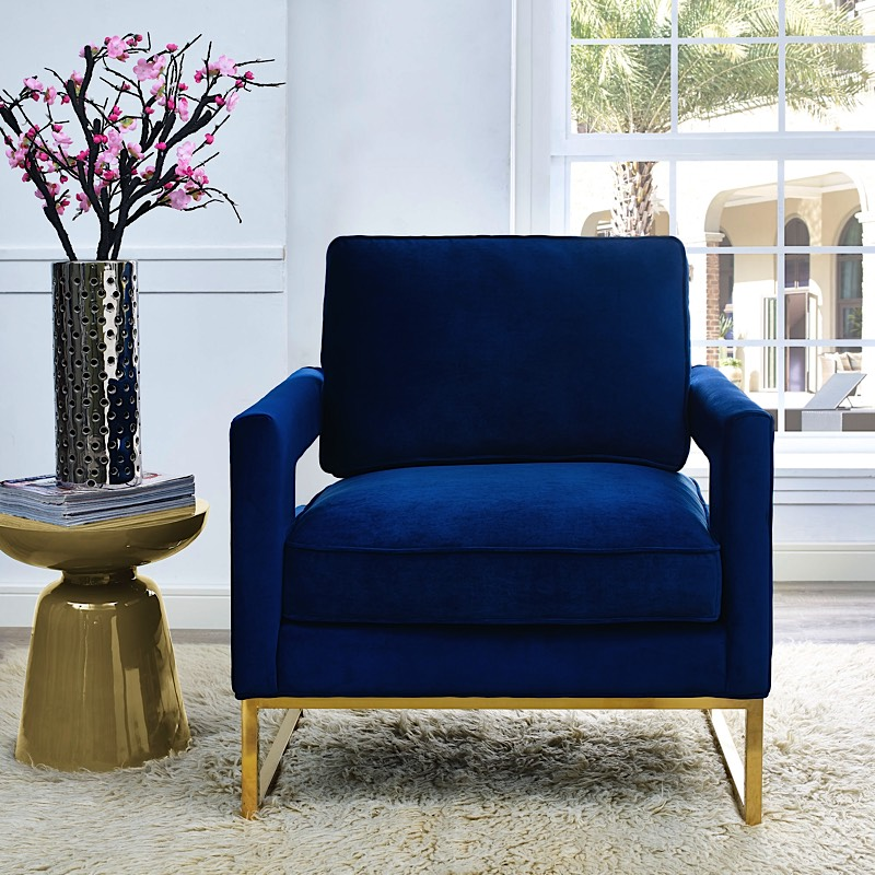 Navy Blue Velvet Chair Avery Blue Velvet Chairs