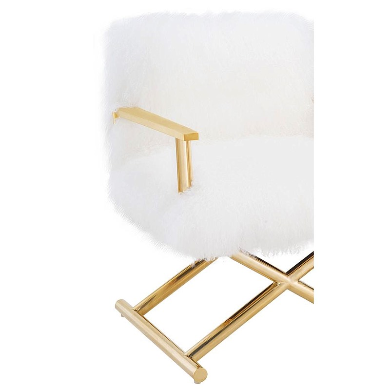 Jodi Sheepskin Chair   White | Gold
