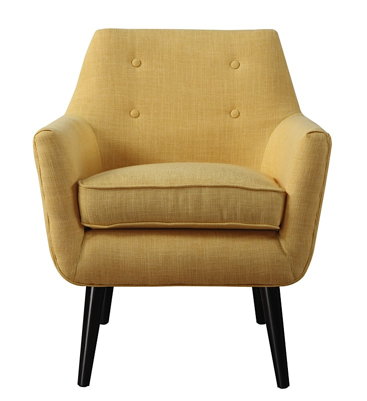Clyde Chair Mustard Yellow Linen Black Legs Modern