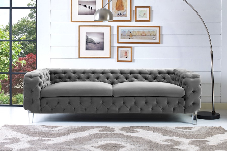 Cecilia Tufted Sofa Gray Velvet