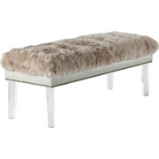 Luxe Sheepskin Lucite Bench