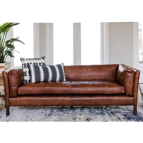 Ford Brown Top Grain Leather Sofa