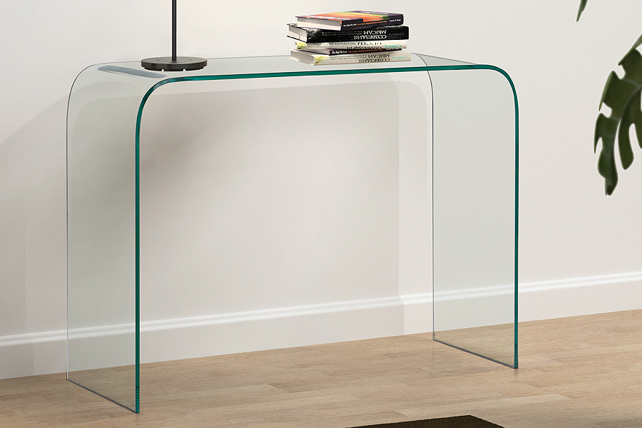 glass console table with shelf mecca clear uk chrome