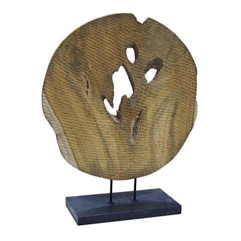Round Wood Table Sculpture