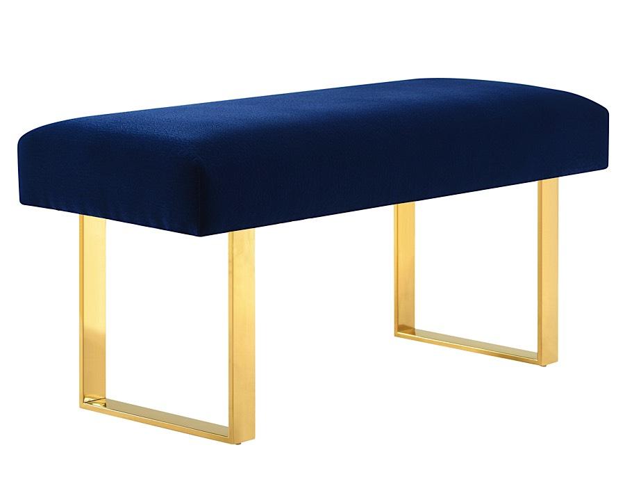 Alexis Velvet Bench Navy Blue Velvet Gold Modern Digs