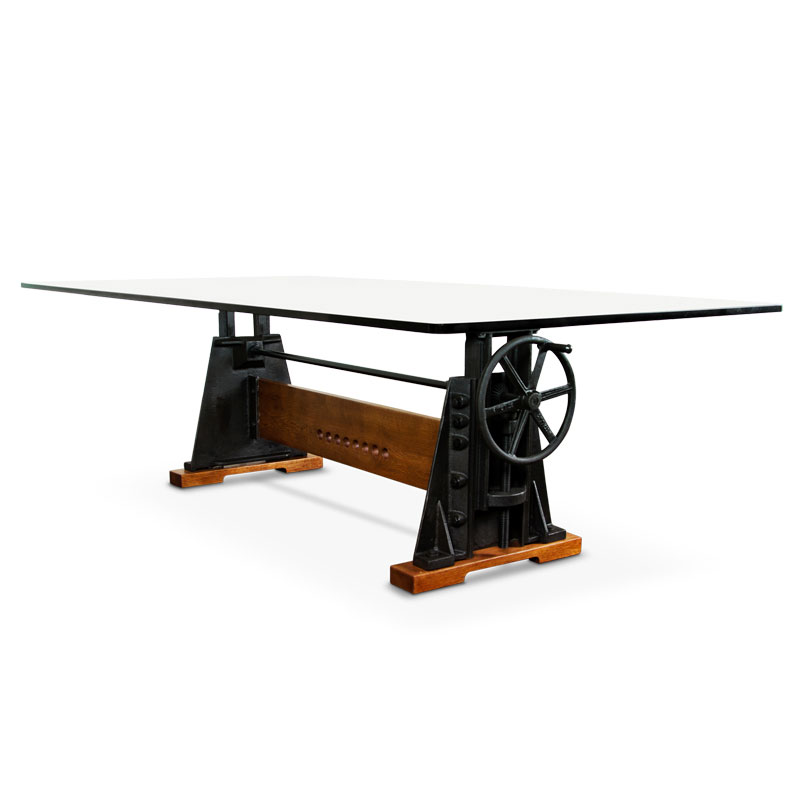 Le Loi Recycled Iron Amp Glass Dining Table Modern Digs