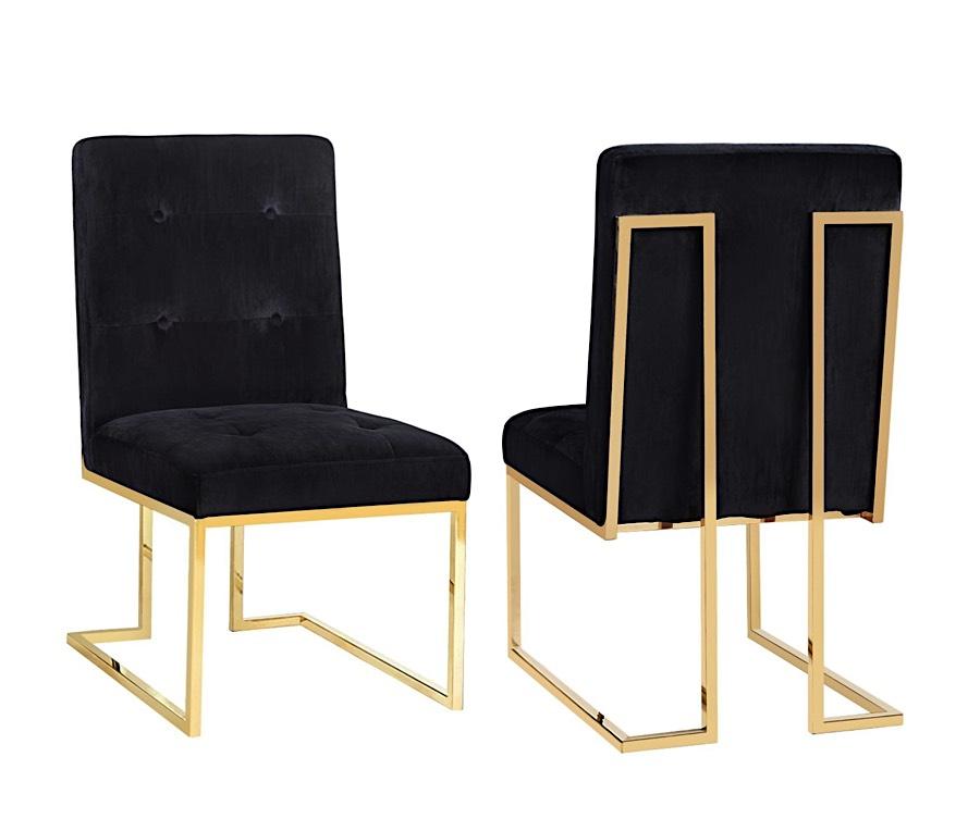 Allison Tufted Velvet Dining Chair With Gold Legs