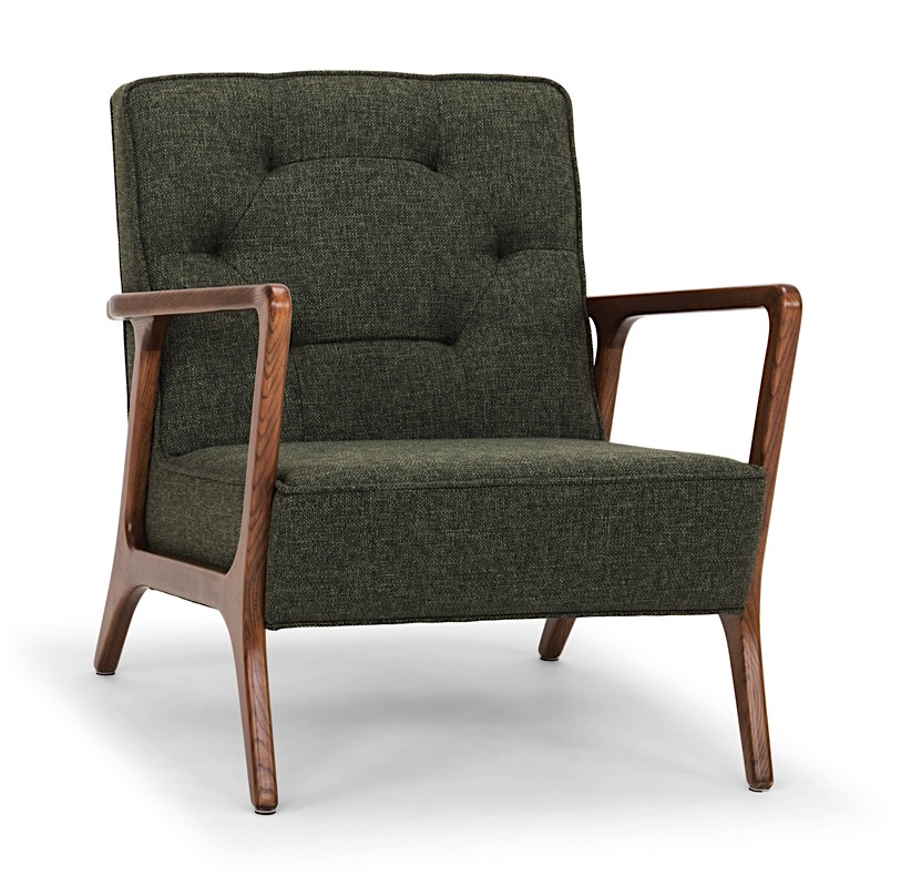 . Eloise Mid Century Modern Occasional Chair with Walnut Arms   Modern Digs