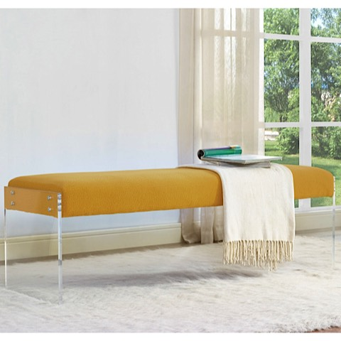 Sunshine Pebbled Velvet Bench