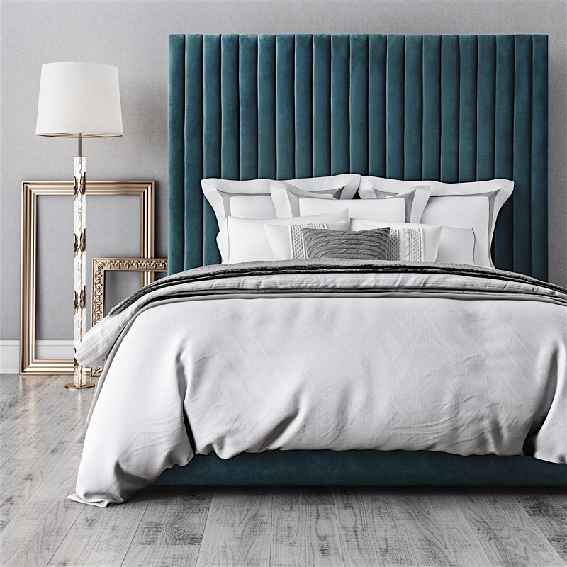 Modern Velvet Tufted Bed Emma Queen Bed In Sea Blue