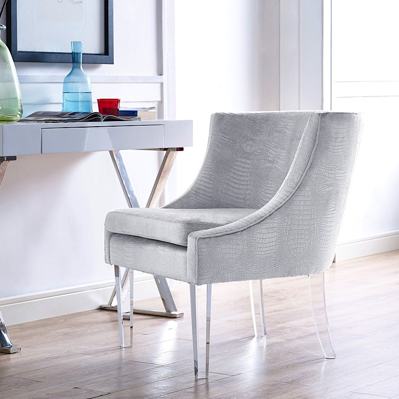 Myra Chair Silver Croc Velvet Furniture Modern Digs. Acrylic Chair Legs  Cute Upholstered Ghost Lucite Furniture Whole