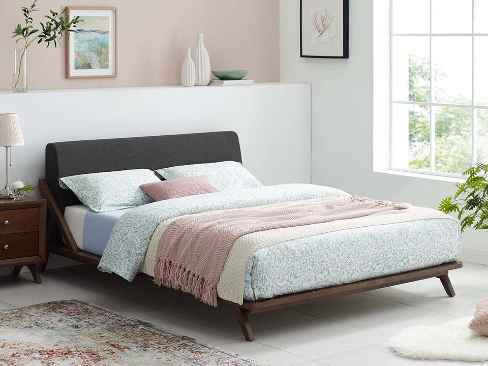 Lily Platform Bed Queen Walnut Gray, Platform Fabric Queen Bed