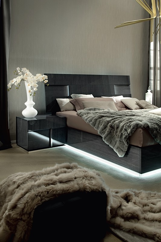 black and red lacquered wood high end platform bedroom | Positano Charcoal Gray Italian Platform Bed | Modern Digs