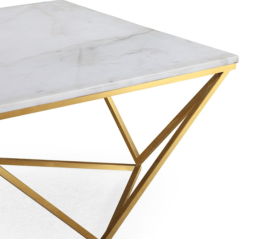 Well-known Leopold Cocktail Table White Marble | Gold | Modern Digs Furniture HM99