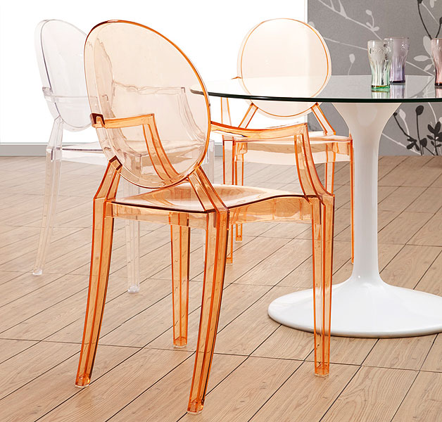 Anime Arm Chair Transparent Orange Modern Digs Furniture