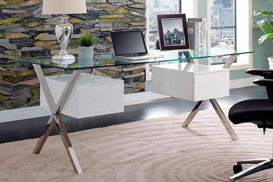 Archer Modern Glass Desk With Drawers Modern Digs