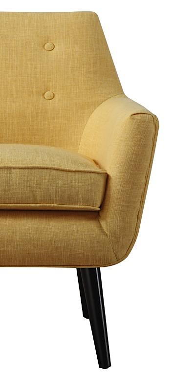 Clyde Chair Mustard Yellow Linen Black Legs Modern