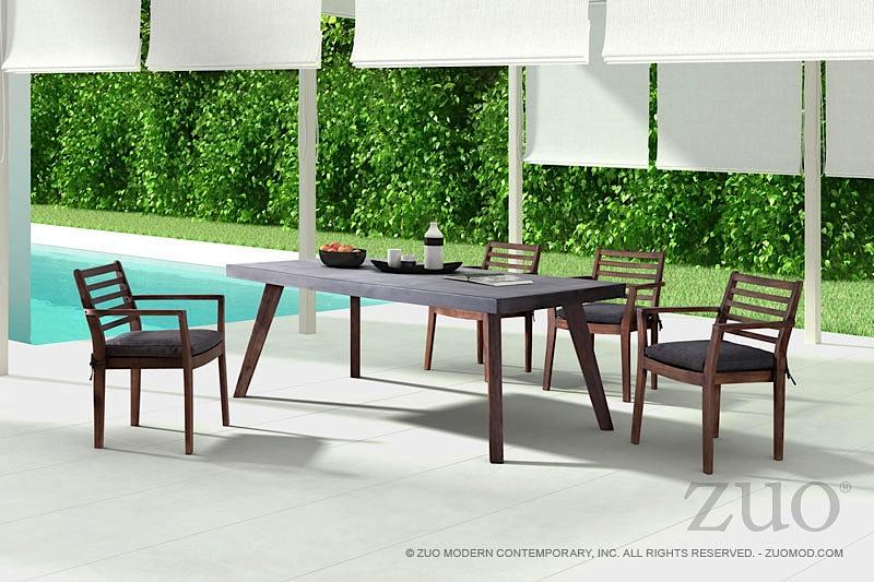 Santana Dining Table   Cement | Dark Walnut