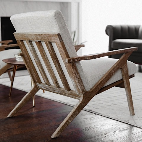Adalyn Lounge Chair White Linen Natural Oak Modern Digs Furniture